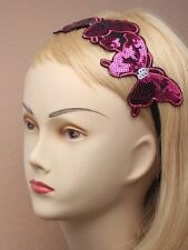 LADIES HAIR BAND HEAD bandeaux sequin ELASTICATED BUTTERFLY party  GIRLS 4152