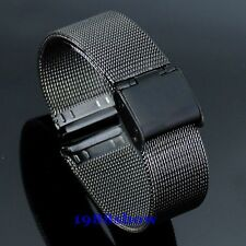 New Black Fashion Lug 18~22 mm Stainless Steel Watch Mesh Band Strap Bracelet
