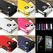 Hybrid Rugged Rubber Matte Hard Case Cover For iPhone 4 4S w/ Screen Gurad + Pen