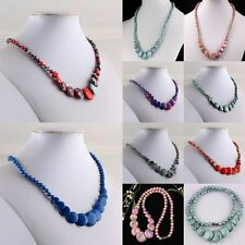 Howlite Turquoise Gemstone Stone Beads Chain Choker Necklace Cocktail Jewelry