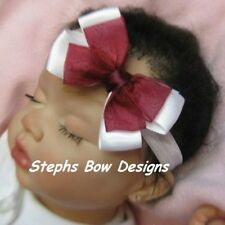 CUTE BURGANDY SHEER & WHITE SATIN DAINTY HAIR BOW HEADBAND CLIP CHRISTMAS EASTER