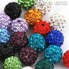 30 PCS  10MM DIY Clay Disco Balls Beads Crystal Shamballa Pave Premium Quality !