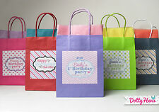 PERSONALISED CHILDRENS BIRTHDAY PARTY PAPER GIFT BAGS - LOOT BAG WITH TISSUE
