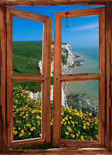 BEACH HILLTOP WINDOW VIEW ILLUSION MURAL PEEL & STICK LARGE SCENE WALL DECAL