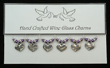 Silver Heart Wedding Wine Glass Charms Top Table Decorations Bride,Groom,Family