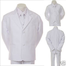 New Infant, Boy Wedding Baptism Communion Formal Tuxedo Suit S- XL, 2T- 20 WHITE