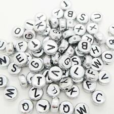 100 x 7mm Silver Black Letter Alphabet Loose Bead Flat Round Mixed Single A-Z UK