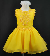 BABY & GIRL NATIONAL GLITZ PAGEANT FORMAL PARTY SHORT DRESS YELLOW 6 M-7 YRS OLD