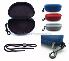 Large Sunglass Hard Case with Zipper and Belt Clip and Sunglass Retainer Strap