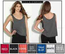 Bella Ladies Crop Flowy Tank Relaxed Fit Great For Layering 7 Colors Size S-L/XL