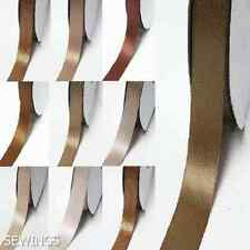 "Double Faced Satin Ribbon 1/2"" /13mm Wedding By 5 Yards Ivory to Brown for bow"