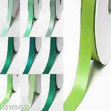 """Double Faced Satin Ribbon 5/8"""" / 16mm. Wedding 5 Yards, Lime to green for bow"""