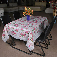 Floral Wipe Clean PVC Tablecloth with Elegant Lace Surrounding