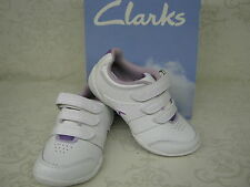 Clarks Cica Yoga Spin White Leather Triple Velcro Trainers