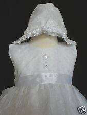 New White Baby Infant Girl Toddler Baptism Christening Formal Dress 3pc 0M- 30M