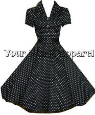 H&R LONDON BLACK POLKA DOT PINUP SWING 1950's HOUSEWIFE DRESS VINTAGE ROCKABILLY
