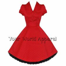 H&R LONDON RED POLKA DOT PINUP SWING 1950's HOUSEWIFE DRESS VINTAGE ROCKABILLY