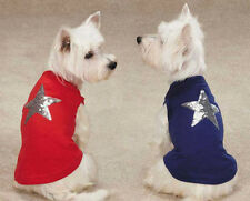 Dog Sequin Star Tank Top T-Shirt  Zack & Zoey stripes Red Blue Pet Clothing