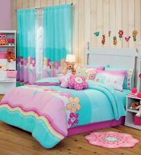 Twin Full, Queen & Bunk Bed Girls Garden Comforter Set with Matching Curtains
