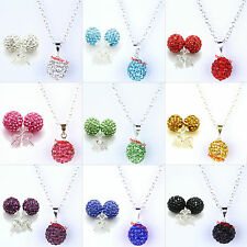 Set Necklace Earring  Czech Crystal Disco Clay Ball Earrings Necklace