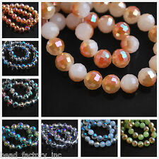 Multicolor 100pcs 8mm Round 96 Faces Crystal Glass Finding Charm Spacer Beads