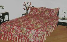DAVIDSON FLORAL COMFORTSPREAD / BEDSPREAD SET w/ ATTACHED RUFFLE & 2 SHAMS