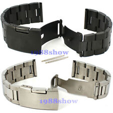New 18~24 mm Black Silver Stainless Deployment Watch Band Bracelets Buckle Strap