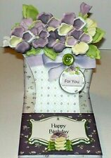 Handmade Greeting Card & Matching Envelope 3D Easel With Pansies In A Basket