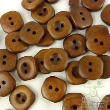 20/100pcs Brown Wood Buttons Lot 15x15mm 2 Holes Craft/kids Sewing Cards DIY