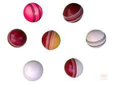 PACK of 5 PRACTICE TRAINING CRICKET BALLS Red White Yellow Pink, Adult Youth