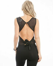 DE COLORES Top Front: Brown Silver - Back: Black Chiffon Open Tie-Back S M L
