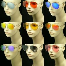 MIRROR SUN GLASSES UV400 MEN WOMEN NEW PILOT AVIATOR LENS FRAME NEW METAL