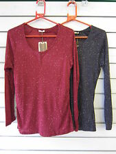 Ladies Brave Soul Neppy Yarn Long Sleeve Grandad Top LLT207SPARKLE