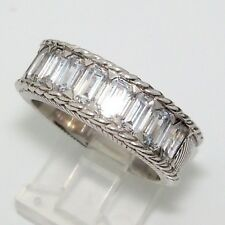 Judith Ripka Multi Emerald Cut CZ DQ Cable Band Ring Sterling Silver