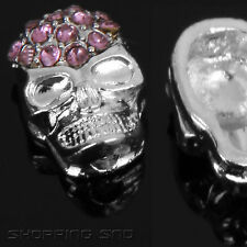HOT! Charms Skull Head Beads Crystal Bracelet Pave Disco Balls Spacer Sideway