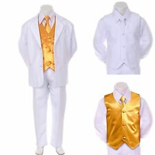 New Boy Teen Formal Wedding Party Prom White Suit Tuxedo + Yellow Vest Tie 8-14