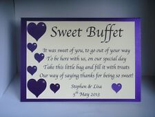 PERSONALISED SWEET SHOP SWEETIE CANDY BAR BUFFET TABLE SIGN Hearts & Diamante