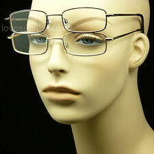 2 PAIR LOT READING GLASSES CLEAR LENS MEN WOMEN NEW MAGNIFY METAL POWER MM38