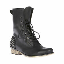 NIB BETSEY JOHNSON Black KINDERR Motorcycle Studded Boots Size 7,8 -70% OFF