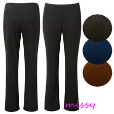NEW LADIES PACK OF 2 BOOTLEG STRETCH FINALLY RIBBED TROUSERS BLACK SIZE 8-24
