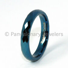 Tungsten Carbide Ring 4MM Blue IP Faceted Wedding Band