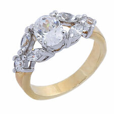 Gold Wedding Engagement Eternity Set or Cocktail Bling Ring gp cz Various Sizes