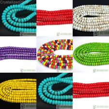 """White Blue Green Red Yellow Purple Howlite Turquoise Gemstone Rondelle Beads 16"""""""