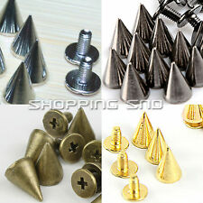 10mm Cone Screwback Metal Studs Leathercraft Rivet Bullet Spikes Spots 4 Colors
