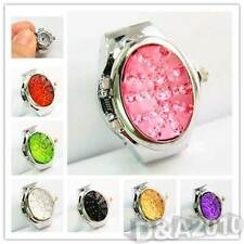 7 Color Fashion New Women Lady Rhinestone Cover Quartz Elastic Finger Ring Watch