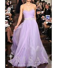 New Lilac Chiffon Designer Runway Prom Party Ball Gown Evening Dress Size 2-16