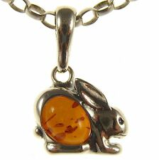 BALTIC AMBER STERLING SILVER 925 RABBIT PENDANT NECKLACE CHAIN JEWELLERY GIFT