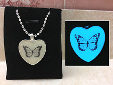 GLOW IN THE DARK MONARCH BUTTERFLY Silhouette Pendant Charm Necklace Insect