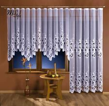Quality Floral Net Curtain Jardiniere White Multiple Sizes Ready to hang Tape