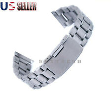 Solid Stainless Steel Strap With Push Button Lock Buckle Watch Deployment  Band